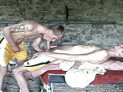 Hot boys kiss and bang each other