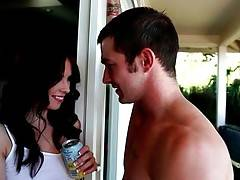 Naughty young babe seduces handsome tough pool cleaner.