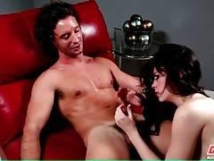 Veronica Radke enjoys the taste of Zack Moreno`s erect shaft.