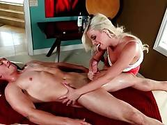 Lovely big titted masseuse give her client an extra bonus.